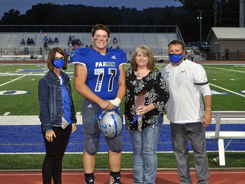 Chris Scott was one of 15 seniors honored during Fannin County's senior night ceremony Friday, October 9. Scott is shown with his mother, Leann Towe.