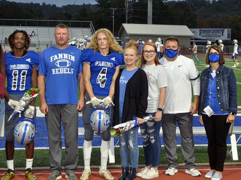Fannin County held their senior night for senior football players, band members, cheerleaders, sports medicine and cross county, before the Rebels football game against Gordon Central Friday, October 9. Shown are, from left, father, Chris Hyde, senior, Cohutta Hyde, mother, Kristi and sister, Rheagan Larson.