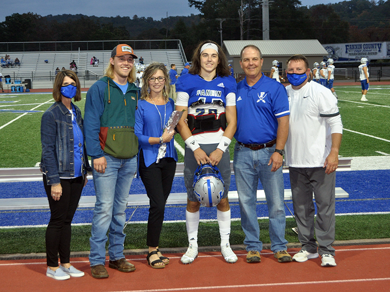 Luke Holloway was one of 15 football seniors to be honored during Fannin County's senior night, before the game against Gordon Central Friday, October 9. Shown are, from left, brother, Clay Holloway, mother, Jill Holloway, Holloway and father, Pat Holloway.