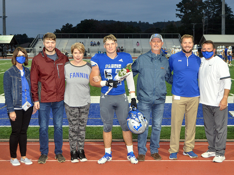 Micah O'Neal was one of 15 football seniors honored before Fannin's game with Gordon Central Friday, October 9. Shown are, from left, brother, Isaac O'Neal, mother, Becky O'Neal, O'Neal, father, Eddie O'Neal and brother, Noah O'Neal.