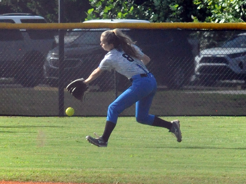 Lady Rebel Jaylen Green fields a ball in recent action for the Lady Rebels softball team.