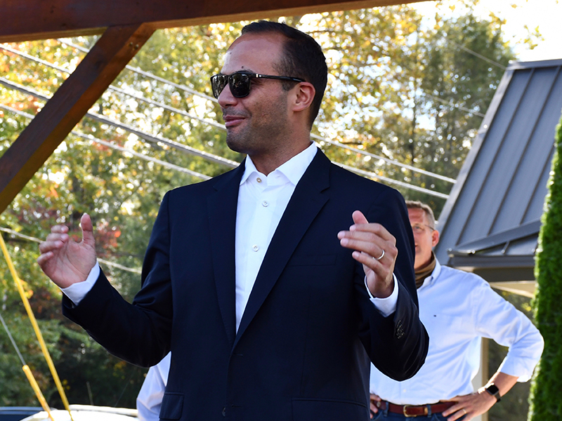 Former member of the foreign policy advisory panel to President Donald Trump's 2016 presidential campaign George Papadopoulos speaks to U.S. Congressional Representative and U.S. Senatorial Candidate Doug Collins' ability to serve the citizens of Georgia during the Blue Ridge stop of Collins' campaign tour of the state.