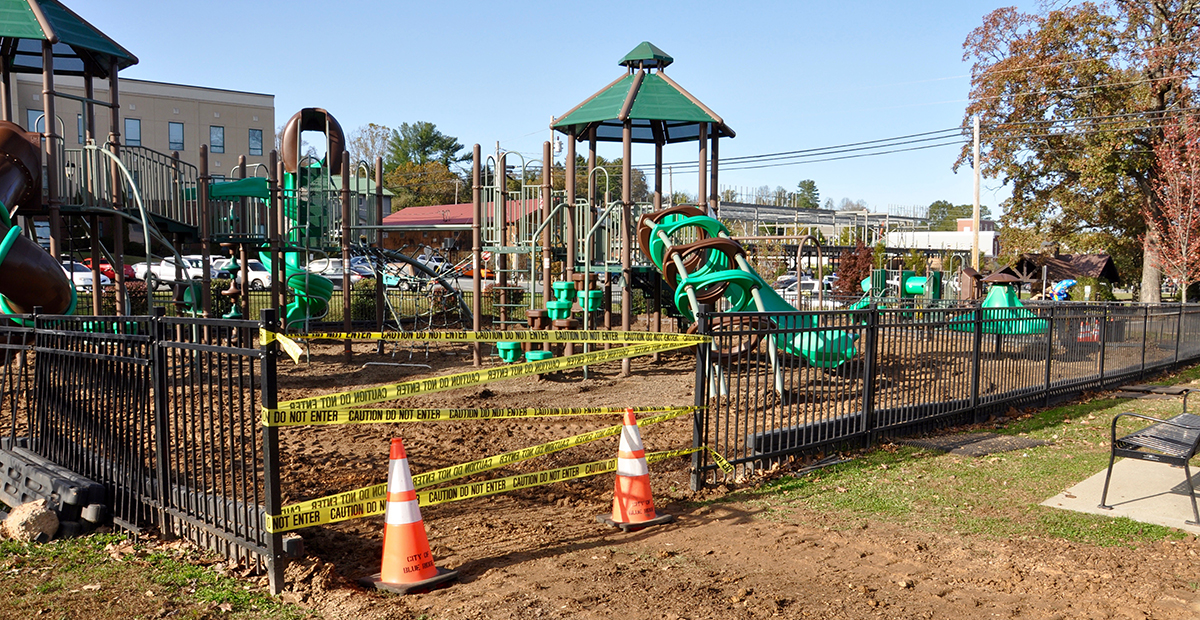 4-V Ranch began removing the mulch from the City of Blue Ridge's downtown playground Monday, November 2.