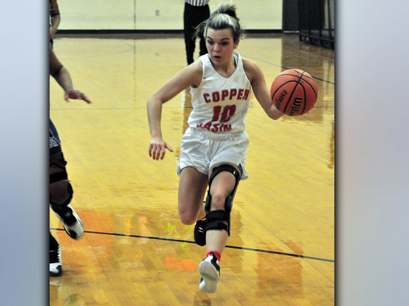 Lady Cougar Sydney Hickey drives to the basket in recent action for Copper Basin.