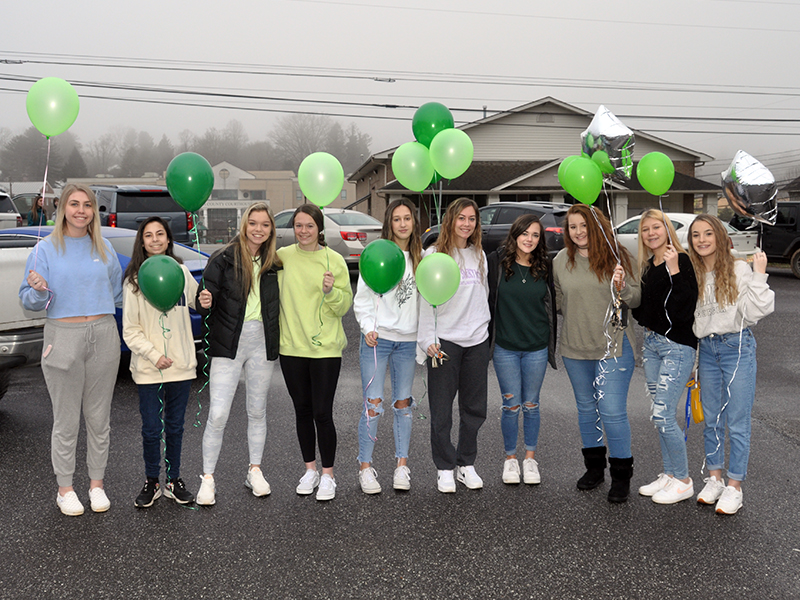 Students from Fannin County High School gathered at First Baptist Church of Blue Ridge to celebrate the life of Sydnie Jones. Shown before the balloon release are, from left, Hannah Green, Jade Dixon, Jaylen Green, Jayden Bailey, Reagan O'Neal, Alyssa Anderson, Jenna Young, Kaylie Kendall, Makenna Miles and Maleia Bigham.