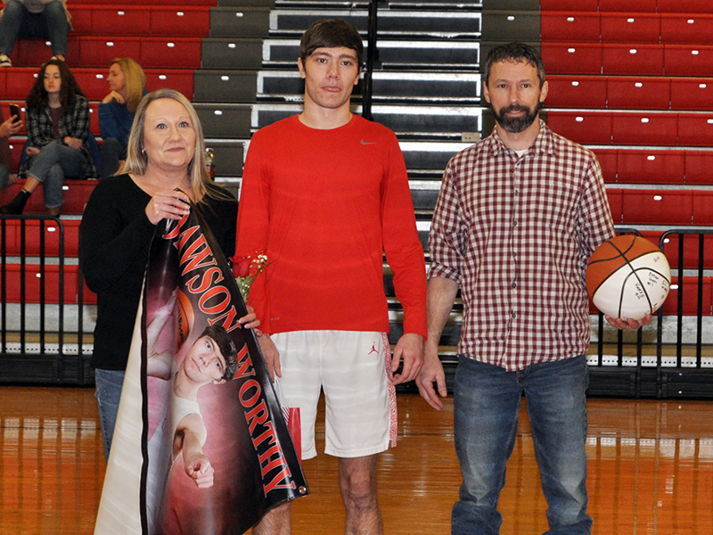 Copper Basin held their senior night ceremony for basketball and cheerleading seniors Saturday, February 6. Shown during the ceremony are, from left, grandmother, Kay Jabaley; father, Tim Jabaley; senior, Timothy Jabaley; and mother, Eden Jabaley.