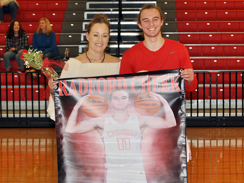 Radford Cheek was one of 11 basketball and cheerleading seniors honored at Copper Basin's senior night ceremony Saturday, February 6. Cheek is shown with his mother, Veronica Cheek.