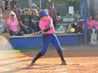 Lady Rebel Emma Mitchell unloads on a pitch in recent action for Fannin County.