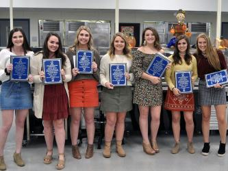 Seven seniors were celebrated at the Fannin County Lady Rebels volleyball banquet Tuesday, October 15. Seniors are, from left, Cheyanne Tilson, Haley Parks, Hannah Green, Courtney Earls, Carly Crawford, Madison Bowers and Sydnie Jones.