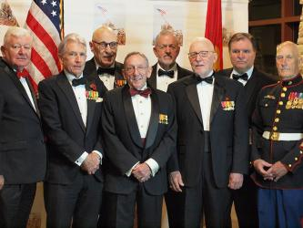 Some of the Marines who attended the North Georgia Marine Corps Ball November 9, included, from left, Colonel John Winkler, Captain Judd Kinne, Lieutenant Bryan Lash, Lieutenant Mike McLean, First Lieutenant Chuck Clark, Lieutenant Colonel John Regal, guest of honor Judge Pat Murphy and Sergeant Major Haywood Riley. The ball marked the 244th Birthday Celebration of the United States Marine Corps.