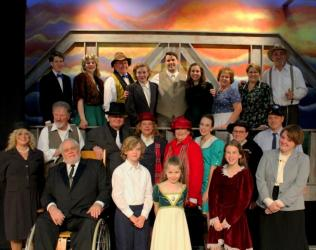 "Cast members for ""It's a Wonderful Life"" gather around for a photo. Shown in the front row, from left, are Alicia Scully, Harry Chambers, Jonathan Bewley, Hadassah Pasley, Jubilee Get and Sydney Giddens; middle, Bill Banzhaf, J.R. Ridge, Lynn Green, Toni Born, Tempest Giet, Susan Mills and Gary Collier; back, Xander Pasley, Ali Reynolds, James Pasley, Evan Kincaid, Logan Walker, Patience Giet, Renee Banzhaf, Candace Youngberg and Mike Dunham."