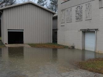 This scene at the Whitepath FabTech property, recently purchased by Fannin County, caused concern among several residents when heavy rains caused water to rise into the building.