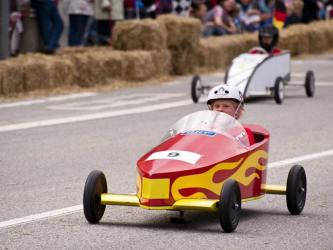 One Blue Ridge Soap Box Derby contestant zooms toward the finish line during last year's derby. Now's the time to think about building the cars for the upcoming race taking place April 25 at Fannin County Middle School.