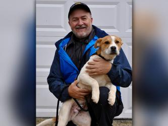 Fannin County Animal Control Manager John Drullinger holds this male mix who was picked up February 9 on River Street in Blue Ridge. He will be staying at Animal Control until reclaimed or adopted. He has a white and orange coat with cocoa bean eyes. View this sweet boy under Animal Control number 056-2020.