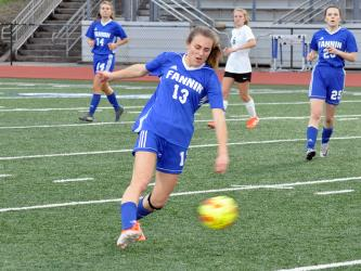 Ana Arvidson takes a shot at the goal in recent action for the Fannin County Lady Rebels soccer team.