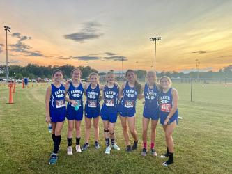 Lady Rebels cross county athletes smile for a photo after a meet in recent action for Fannin County. Shown are, from left, Kristin Cipich, Olivia Temples, Shaylee Jones, Erin Jones, Monic Cosentino, Carlee Holloway and Teagan Cioffi.
