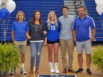 Senior Brooklyn Cole and her fellow Fannin County Lady Rebel volleyball seniors were honored before their varsity match with Copper Basin Thursday, September 10. Shown, from left, are brother, Bryson Cole; mother, Lisa Cole; senior, Cole; brother, Dawson Cole; and father, Shaun Cole.