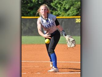 Jadeyn Holloway slings a pitch in recent action for the Fannin County Lady Rebels softball team.