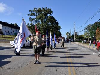"Local Boy Scouts of America, led by Ethan Jolly, led the Mountain Patriots' ""God & Country"" parade and rally through downtown Blue Ridge."