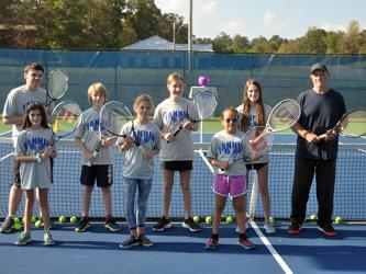 The Fannin County Recreation Department held tennis practice Thursday, October 16. Shown are, from left, front, Carolina Kinkade, Tammy Tollai and Ella Norris; and back, Luke Pelfrey, Thomas Tollai, Ava Acker, Addeyln Beavers and coach Mark Miller.