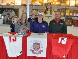 Copper Basin quarterback Bryson Grabowski signed his letter of intent to further his academic and athletic football career at Western Carolina University Wednesday, February 3. Shown following the signing ceremony are, from left, front, brother, Eli Grabowski; mother, Amber Grabowski; senior Grabowski; father, Chad Grabowski; and back, brother, Kaeden Grabowski; and sister, Peyton Grabowski.